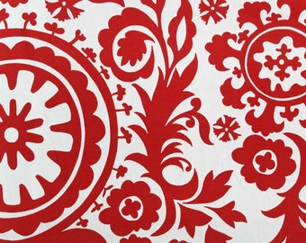 Red Fabric. Suzani Print. Premier Prints. Lipstick Red And White. Christmas  Fabric