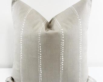 Taupe pillow Cover. Carlo Cove & White. Stripe  Sofa Pillow cover. Taupe Sham Pillow Cover. Pillow case. Select size.