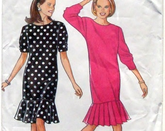 Simplicity Slim Dress w/Sleeve and Flounce Variations Sewing Pattern #7981 - Uncut - Size 6+8+10+12+14+16