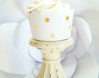 Gold Foil Mini Star Cupcake Wrappers, Star Cupcake Wrappers, Dessert Table Decor, Party Supplies, Birthday Decorations,