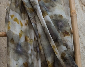 Silk Scarf purple gold Flowers with leaves (ecoprint)