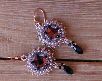 Pink and Black embroidered earrings