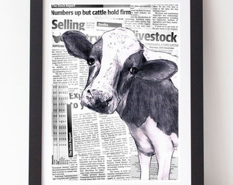 Cow Face on Rural Report Newspaper Collage A4 Print Farm Farmer Country Land Kitchen Study Nursery Bedroom Friesian Green Rural Children