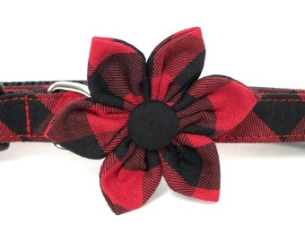 Red Buffalo plaid Flower ONLY for Dog collar, Cat collar, collar flower, pet collar flower, wedding flower, christmas, winter
