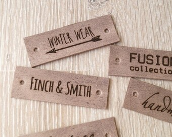 Personalized leather labels, custom labels, leather tags, care labels, labels for knitted products, custom label tags, set of 25