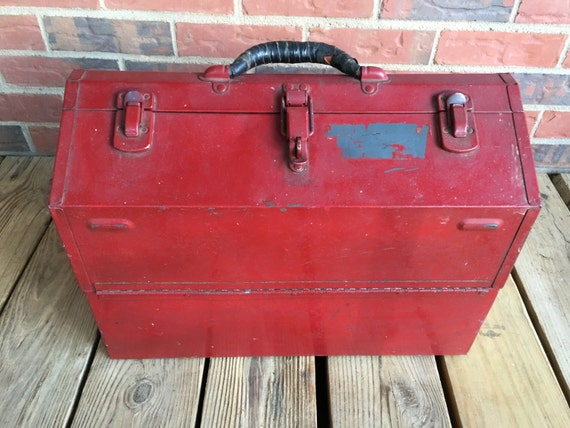 Vintage Large Red Metal Fishing Tool Box Top Opening