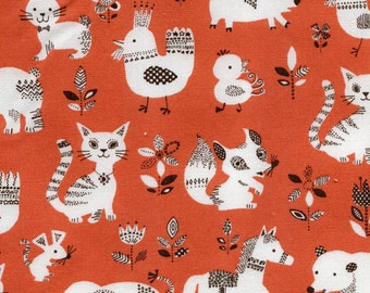 Animals in Orange by Sevenberry Cotton Fabric Fat Quarter