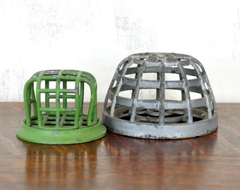 Vintage Metal Cage Flower Frogs, Set of Two, Gardening, Flower Arranging, Rustic Decor, Industrial