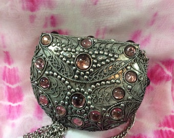 Designer Metal Clutch with purple Stone