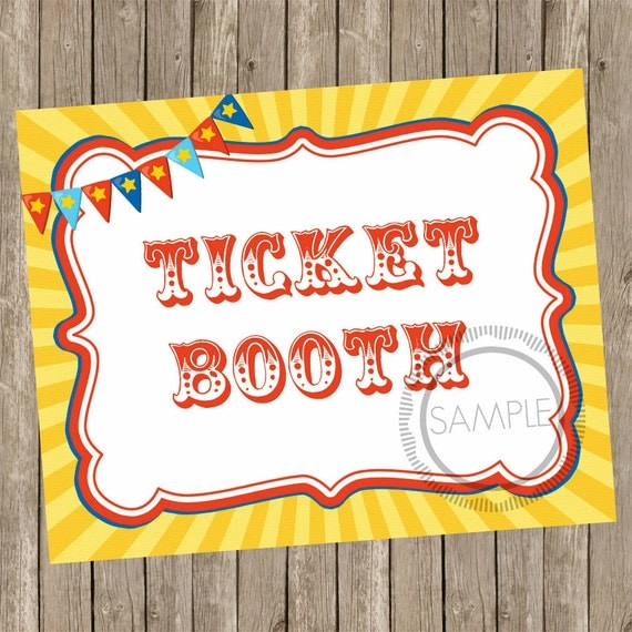 8x10 Ticket Booth / Tickets Carnival / Circus Printable / Sign