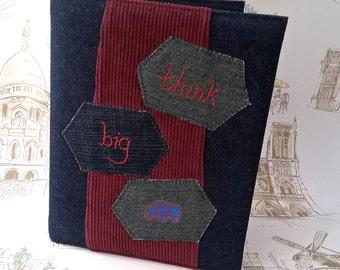 Mens Travel Journal A5 Ring Binder Denim Patchwork Applique Cover, Notebook Sketch Book Diary Desk Organiser - denim blue burgundy red truck