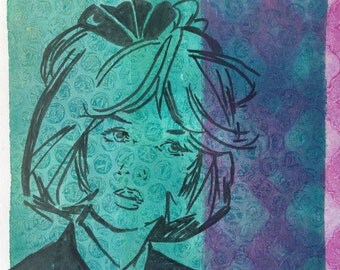 "Vintage Comic Inspired Monoprint ""Winifred"""