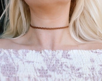 Brown Vegan Leather Braided Choker Necklace