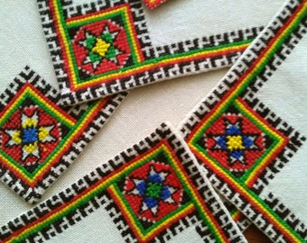 Set of Handmade Cross Stitch Placemats Hand Embroidered
