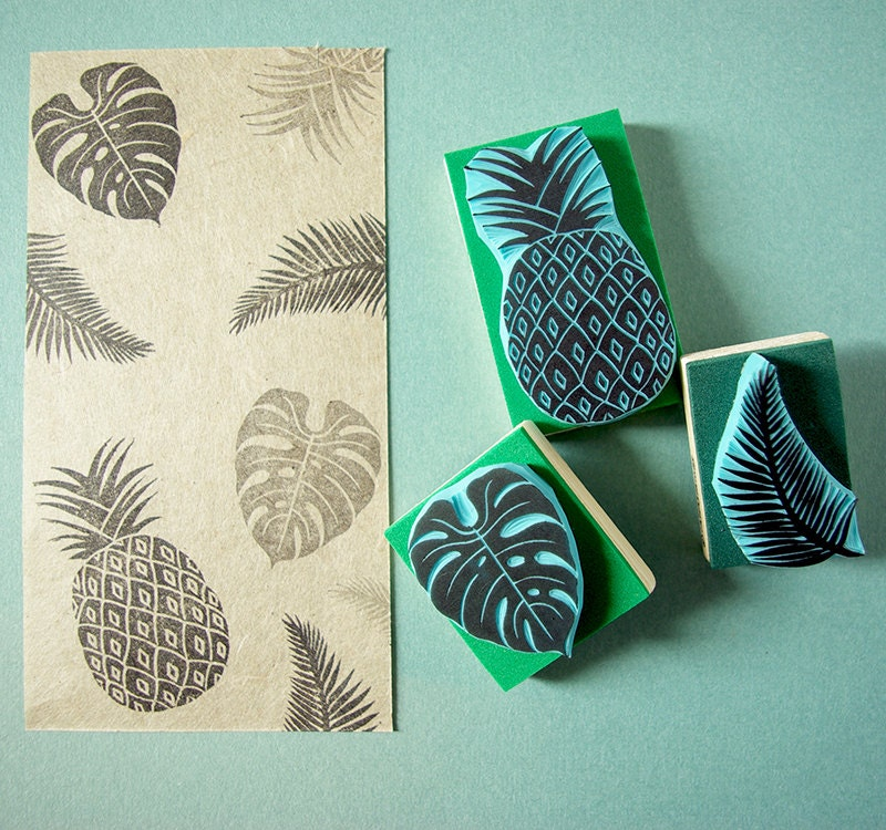 Tropical rubber stamps set of hand carved