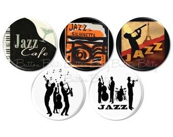 Jazz Music Buttons, Music Notes Pin, Musical Party Favor, Jazz Birthday, Jazz Culture Badge, Music Genre Pinback, Jazz Musician Pins - B2461