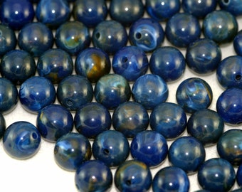 30x Blue Lapis Lazuli Effect Vintage Beads Lucite 10mm - Other Shapes Listed