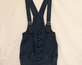 Blue jean button up overall mini dress