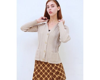 Vintage- Retro- Beige- Taupe- Skinny Rib- WOOL- Knit- PREPPY Style- Cardigan- Sweater- AUS 12- M- Medium
