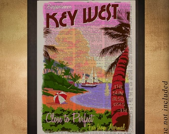 Key West Florida Dictionary Art Print Miami Key West Decor Travel Poster Wall Art Home Decor Gift Ideas da1156