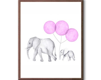 Watercolor Painting, Kids Wall Art, Elephant Painting, Elephants, Kids Room Art, Baby Girl Art, Art Print - E638W