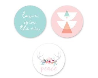 "Lot of 3 magnets ""Spring love""."