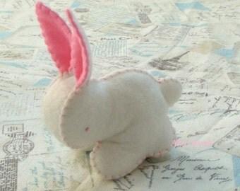 Waldorf toy, Waldorf rabbit, Rabbit soft toy, White Felt Bunny Rabbit Toy, Eco friendly toy, Baby Rabbit, Wool Felt Bunny, wool felt animals