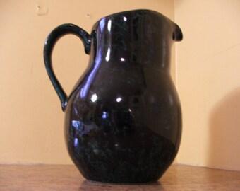Vintage 1960s Bennington Potters Black and Green Agate David Gil Large Pitcher