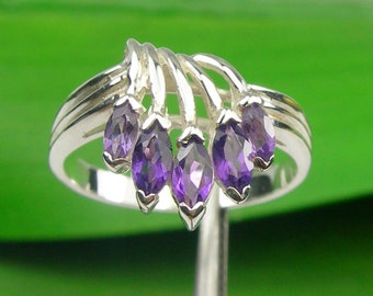 0.71 carat Marquise Cut Natural Amethyst Gemstone Waterfall Five Stone Dress Ring Genuine 925 Sterling Silver - R3149