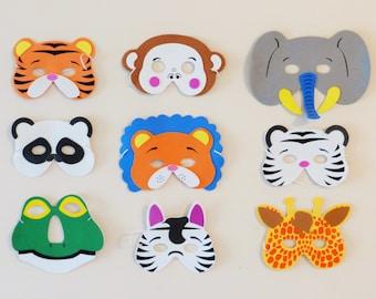 Set of 9, Jungle animals masks, safari mask, tiger lion mask, giraffe mask, elephant mask, panda mask, zebra mask, frog mask, monkey mask