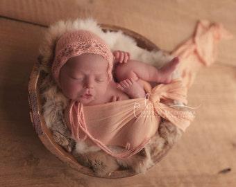 Amy- newborn angora bonnet - luxury angora yarn - photo prop