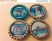 XMAS IN JULY Dolphin Lovers, Dolphins Galore, Dolphin Set of 4 Magnets