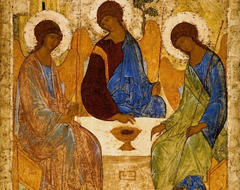Holy Trinity Catholic POSTERS Rublev Trinity Print Three Angels Painting Byzantine icon Russian orthodox Religious icons Christian art print