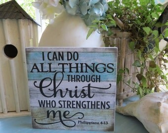 "Wood Religious Sign, ""I Can Do All Things Through Christ Who Strengthens Me"", Philippians 4:13, Inspirational Christian Scripture"