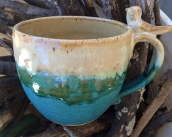 12 Ounce - Perched Bird Mug - Turquoise - Wheelthrown Pottery