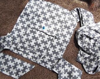 Mei Tai - Daiesu Jigsaw Black - Mei Tai Baby Carrier - Baby Wrap - Woven Baby Wrap - Baby Carrier - Wrap Conversion Mei Tai