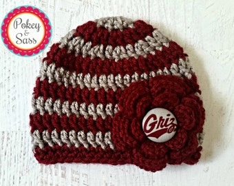 University of Montana Striped Crochet Baby / Toddler Hat Beanie, Grizzlies, Montana baby hat, Montana toddler hat, Griz