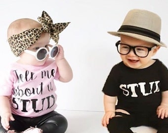 Tell Me About it Stud Tee // Kids Tee  // Toddler Tee // Pink or White Tee // Girl Shirt // Grease Inspired