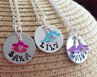 Flower girl necklace/Personalized flower necklace/wedding/bridesmaid/gift for girls/Flower girl jewelry