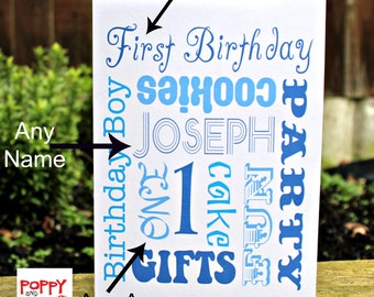 Personalized Card Birthday Card Boy Custom Card Any Age Birthday Card First Birthday Card Word Art Card Typography Card Card for Her