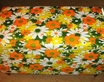 1970s Flower Power Storage Chest - Padded Bench Seat.