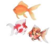 Goldfish Watercolor Original Painting Three Colorful Fish