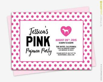 Victorias Secret Pink Polka Dots Theme Party Invitation / Customized Digital Printable File