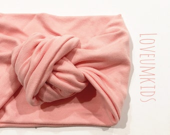 Baby Toddler Girl Solid Peachy Blush Turban Top Knot Headband, Head wrap