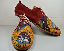Size UK12 US13 EU47: Handmade all leather oxford style shoe, Soft red suede and african wax textile, leather Sole and non slip heel.