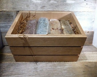 4 Bars Soap in a Rustic Wooden Crate-Gift Set- Soap Box- You Pick Your 4 Soaps