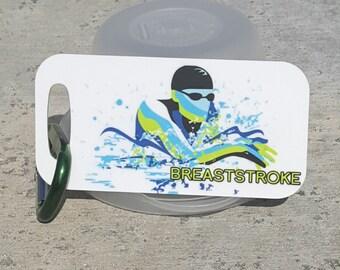Breaststroke, swim Bag Tag, Luggage Tag, Swim Party idea, Triathlon, Swimmer, Swim gift, Swim coach
