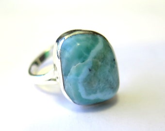 Rarest Ocean Blue Larimar .925 Sterling Silver Ring #10