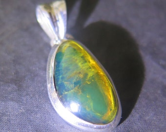 Dominican Clear Blue-Ish Green Amber .925 Sterling Silver Pendant 30mm