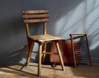 Stuhl Retro Vintage Kind Wabi Sabi Bohmischen Rustikale Boho 40er Jahre Antiken Fleisch Deco